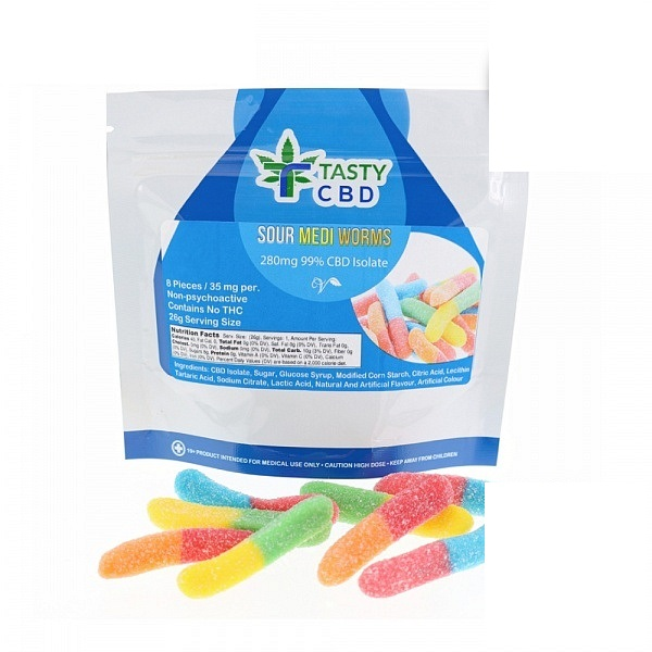Tasty CBD Sour Medi Worms – 280mg CBD